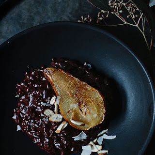 Chocolate Risotto With Fried Pears.