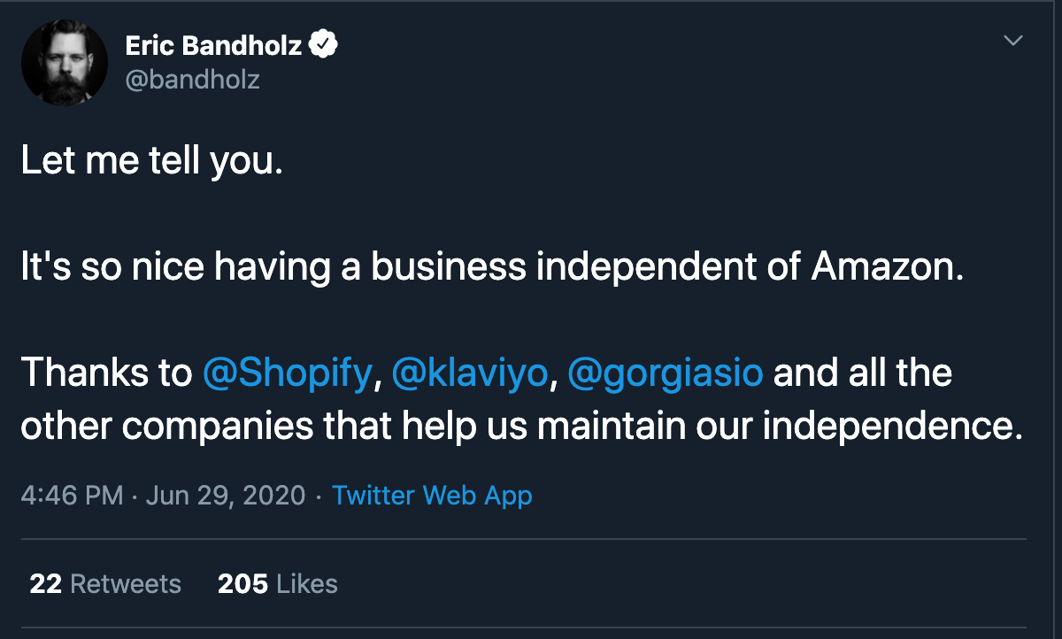 Beardbrand founder tweets about Amazon