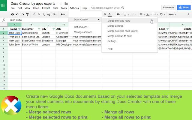 Docs Creator Google Sheets Addon - Google documents