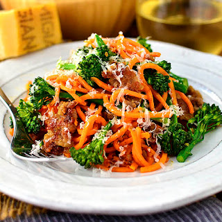 Sausage, Sweet Potato Noodles and Broccoli Skillet.