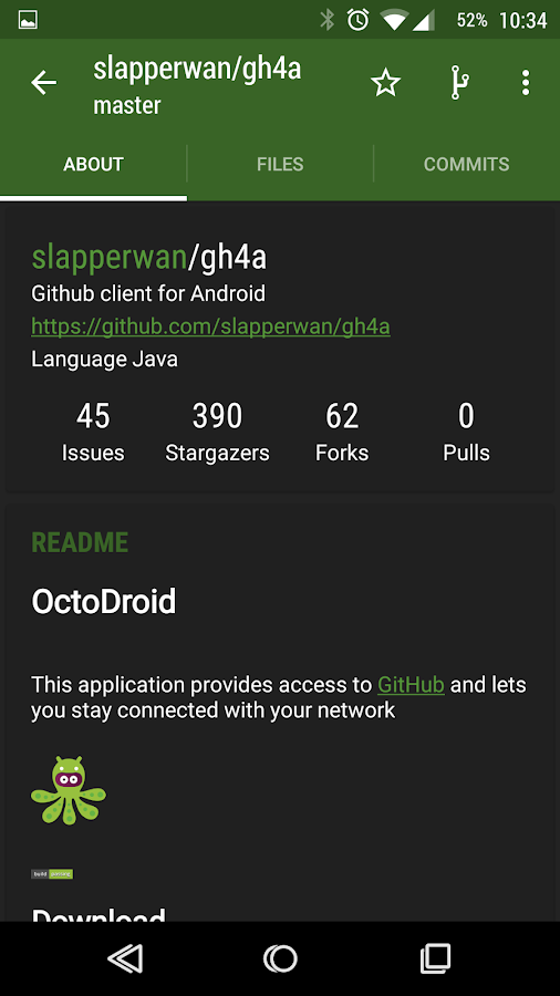 OctoDroid for GitHub- screenshot
