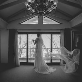 Getting ready by Lood Goosen (LWG Photo) - Wedding Bride ( bride, wedding dress, wedding photography, wedding photographer, weddings, wedding day, wedding photographers, wedding, black and white, brides, getting ready )