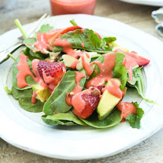 Strawberry Spinach Salad with Avocado and Strawberry Vinaigrette Dressing.