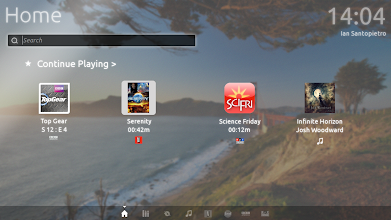 Photo: The Default home lens. It shows the last four things you watched/listened to, for quick access.