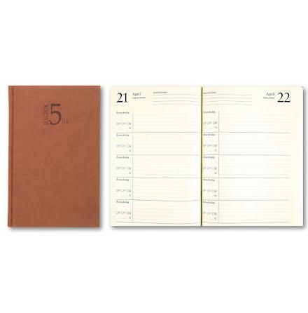 5-Årsdagboken k.läder cognac