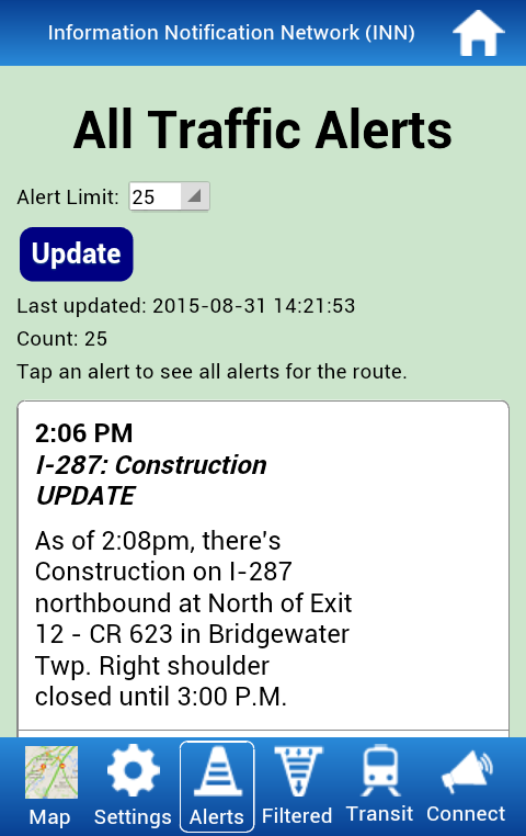 KMM's Traffic Alert App for NJ- screenshot