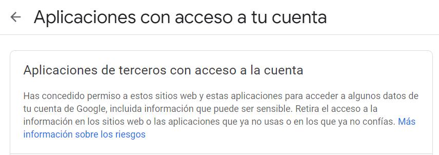 Vista previa del panel de cuenta de Google donde podemos revisar las aplicaciones de terceros con acceso a nuestra cuenta.