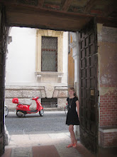 Photo: Genevieve's vespa. Parked in the same spot the entire time we were in Verona.