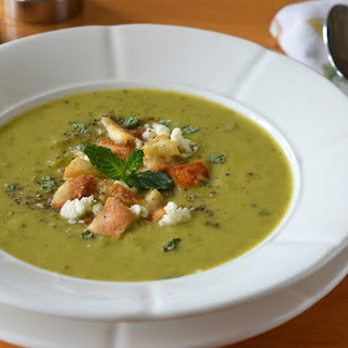 Green Pea & Asparagus Soup with Feta, Mint & Pita Croutons