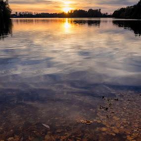 Sunset on Lake Effeld by Jens Klappenecker-Dircks - Landscapes Waterscapes ( water, autumn, sunset, lake effeld, germany, lake )
