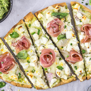 Naan Pizza with Asparagus Pesto, Prosciutto, Goat Cheese & Fontina