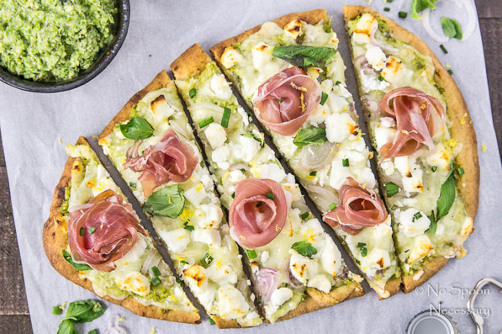 Naan Pizza with Asparagus Pesto, Prosciutto, Goat Cheese & Fontina ...