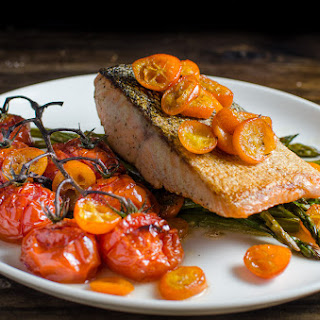 Brown Butter Pan fried Salmon with Roasted Kumquats and Vegetables