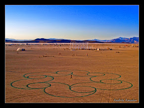 Photo: 'Curls', Black Rock, NV. My first attempt to bring the 'Playa Paintings' to the playa. I used a backpack sprayer filled with the biodegradeable blue dye used for the temporary BMan airport.