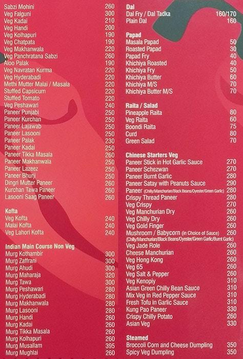 Rampunjab menu 3