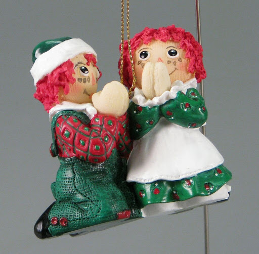 Christmas ornament:Praying Raggedy Ann and Andy Christmas Ornament