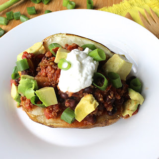 Quinoa Chili Loaded Baked Potatoes.