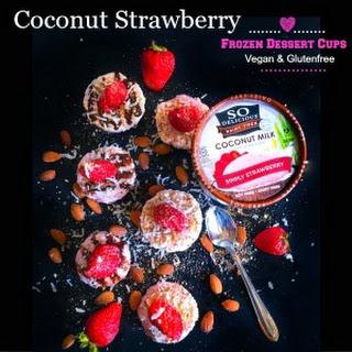 Coconut Strawberry Frozen Dessert Cups - Vegan and Glutenfree