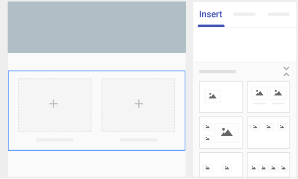 "Layout options on the right, under ""Insert."" The site"