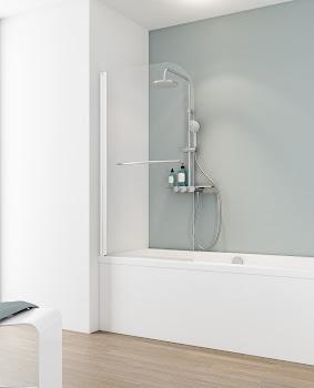 Pare-baignoire Capri Deluxe, 140 cm, 1 volet + porte-serviette