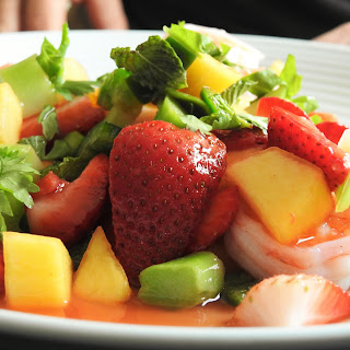Strawberry Peach Shrimp Thai Salad