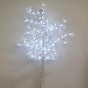 Copac decorativ sarbatori, Alb, iluminat 128 LED, 160 cm, lumina rece