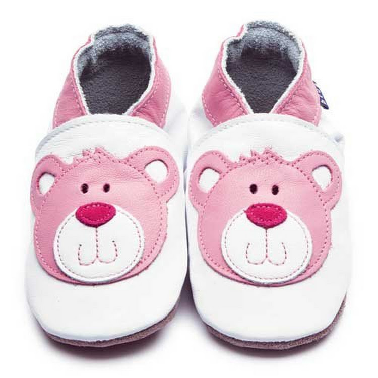 Inch Blue Soft Sole Leather Shoes - Teddy White Pink (0-6 months)