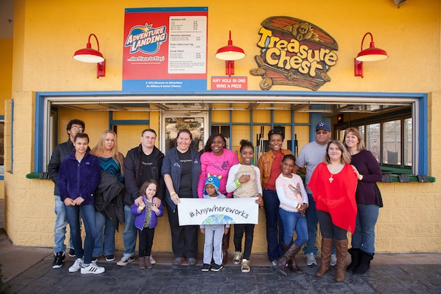 group photo at Adventure Landing in Raleigh AnswerConnect team