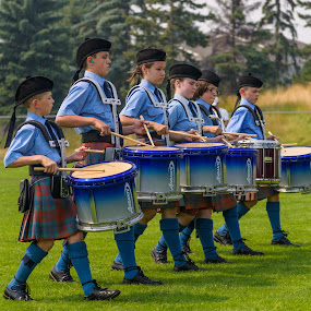 The Beat of the Drums by Garry Dosa - People Street & Candids ( games, tartans, drumming, children candid, marching, blue, outdoors, action, children, scottish, festival, drummers, drums )