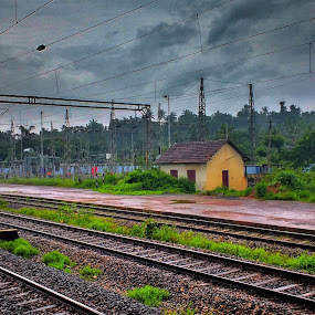 Rain and Railway by Dipin Dev P - Transportation Railway Tracks ( railroad tracks, nature, railway, morning, rain )