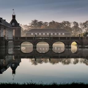 Nordkirchen by Jürgen Sprengart - Buildings & Architecture Bridges & Suspended Structures ( water, foggy, bridge, light )