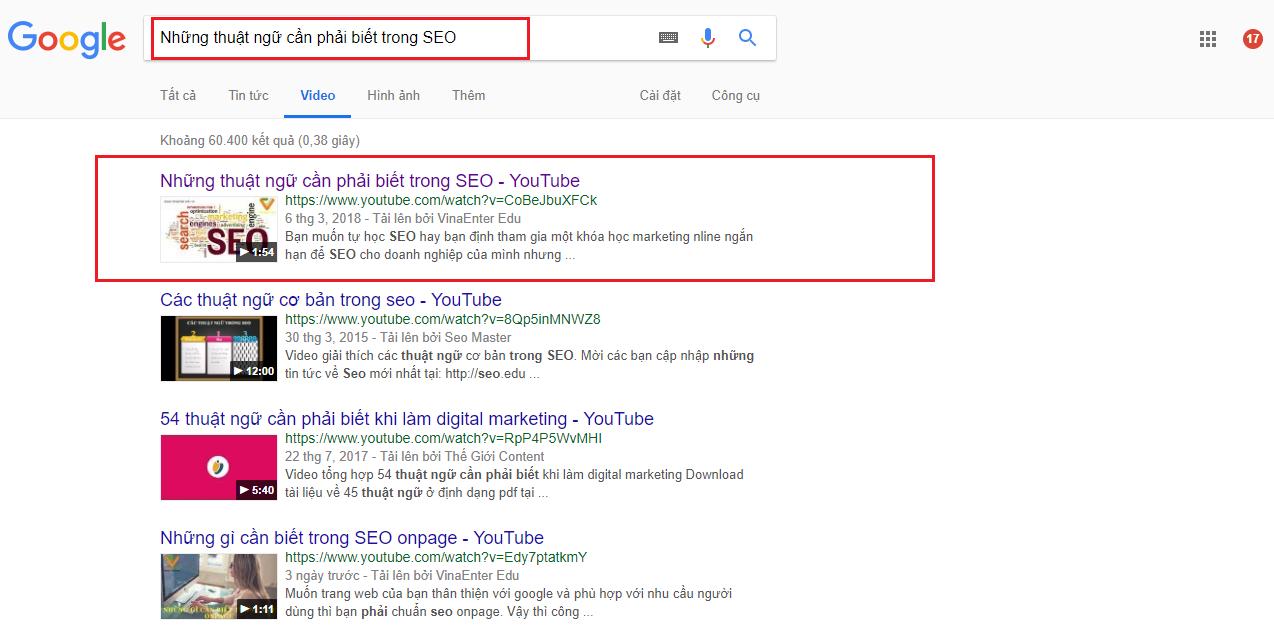 Học seo youtube - xuất hiện trang 1 trên kết quả tìm kiếm Google
