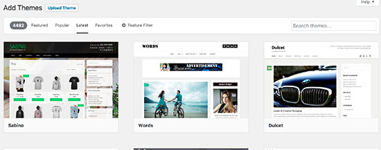 Searching for free WordPress themes