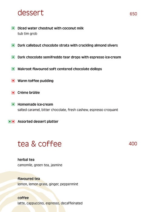 Thai Pavilion, Vivanta By Taj President menu 1