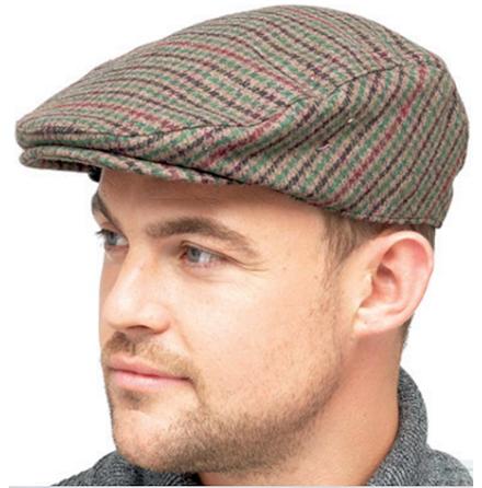 Houndstooth flat cap, brun ton m. grön rand