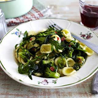 Orecchiette with Broccoli and Arugula.