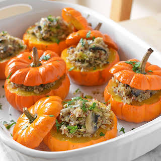 Savory Mushroom and Quinoa Stuffed Mini Pumpkins.