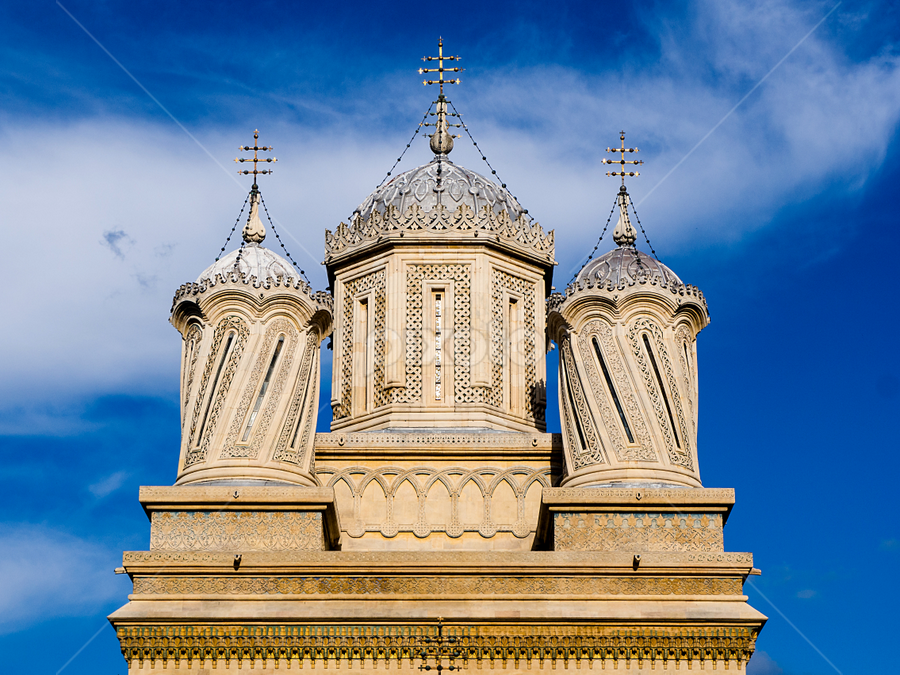 Up! by Roar & Monika Sæthre - Buildings & Architecture Other Exteriors ( church, blue, spires, monastry, romania, sibiu, olympus )