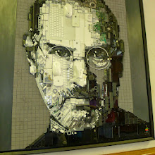 Photo: Kirkland Smith's assemblage of Steve Jobs made from computer parts won the Second Place Prize.