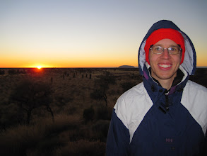 Photo: On Day 2 of the tour, we woke up early to catch sunrise over Uluru and Kata Tjuta.