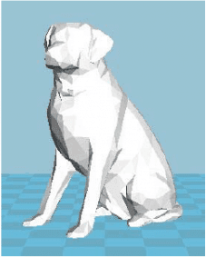 Показана низкополигональная трехмерная модель собаки, используемой для исследования.