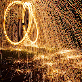 Caught in the Middle by Daniela Maskova - Abstract Fine Art ( steelwool, light trails )