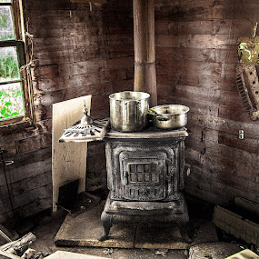Old wood stove by Jocelyne Maucotel - Artistic Objects Other Objects ( interior, shack, wood stove, abandoned )