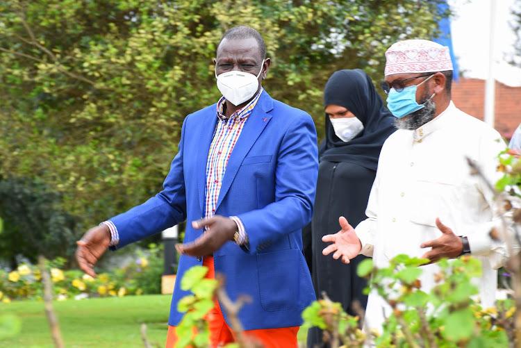 DP Wiliam Ruto with the Muslim faithfuls in Karen.