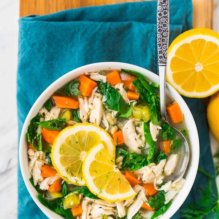 Lemon Chicken Orzo Soup {Crock Pot}