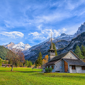 The End Of Autumn by Kitty Bern - Buildings & Architecture Other Exteriors ( mountain, autumn, snow, switzerland, landscape,  )