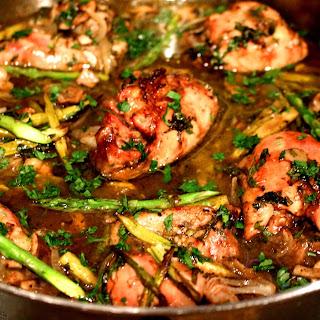 Asparagus and Mushroom Herbed Roast Chicken.
