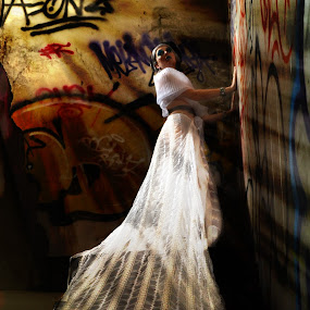 Long Gown on Graffiti by Francis Lopez - People Fashion
