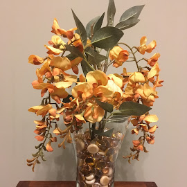 Cascade by Dee Haun - Artistic Objects Still Life ( artistic objects, artificial flowers, floral, unedited, arangement, glass beads, orange brown, vase, 190110t3351, iphone 5x )