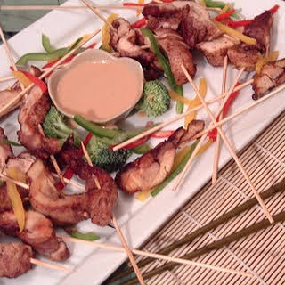 5 Spice Chinese Chicken Skewers with Instant Peanut Dipping Sauce.